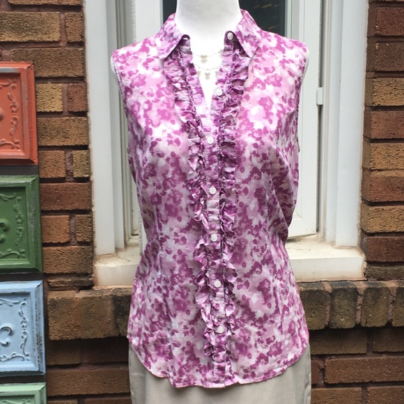 LOFT Tops - {LOFT} Purple Floral Sleeveless Top
